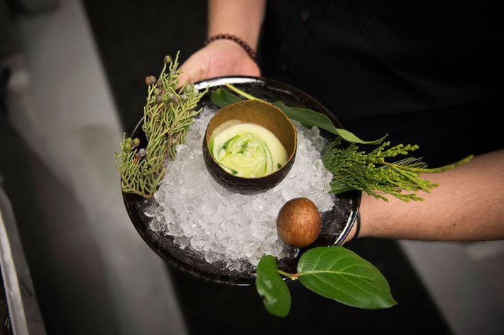 """""""They made an avocado gazpacho, and served it in an avocado skin,"""" Stupak says. """"It looks like when you cut an avocado in half, and you see the green part on the outside and the yellow part on the inside. And all that to be back in an avocado shell swirled up? It's so cool."""""""