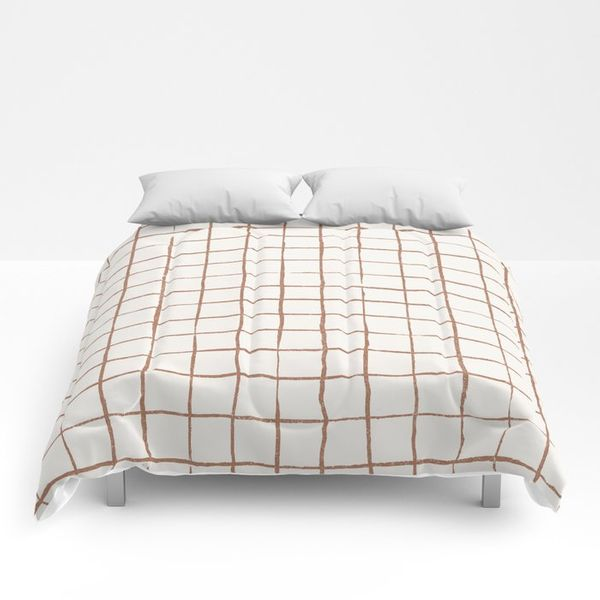 Society6 Imperfect Grid in Ivory and Clay Comforter