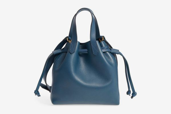 Madewell Mini Pocket Transport Leather Drawstring Tote