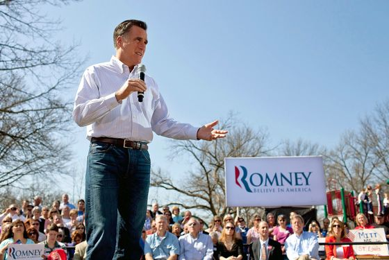 KIRKWOOD, MO - MARCH 13:  Republican presidential candidate, former Massachusetts Gov. Mitt Romney speaks to supporters during a campaign stop at Kirkwood Park March 13, 2012 in Kirkwood, Missouri. As the race for delegates continues, voters in Alabama and Mississippi will cast their ballots in their primaries today.  (Photo by Whitney Curtis/Getty Images)