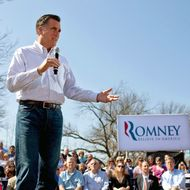 Republican presidential candidate, former Massachusetts Gov. Mitt Romney speaks to supporters during a campaign stop at Kirkwood Park March 13, 2012 in Kirkwood, Missouri. As the race for delegates continues, voters in Alabama and Mississippi will cast their ballots in their primaries today.