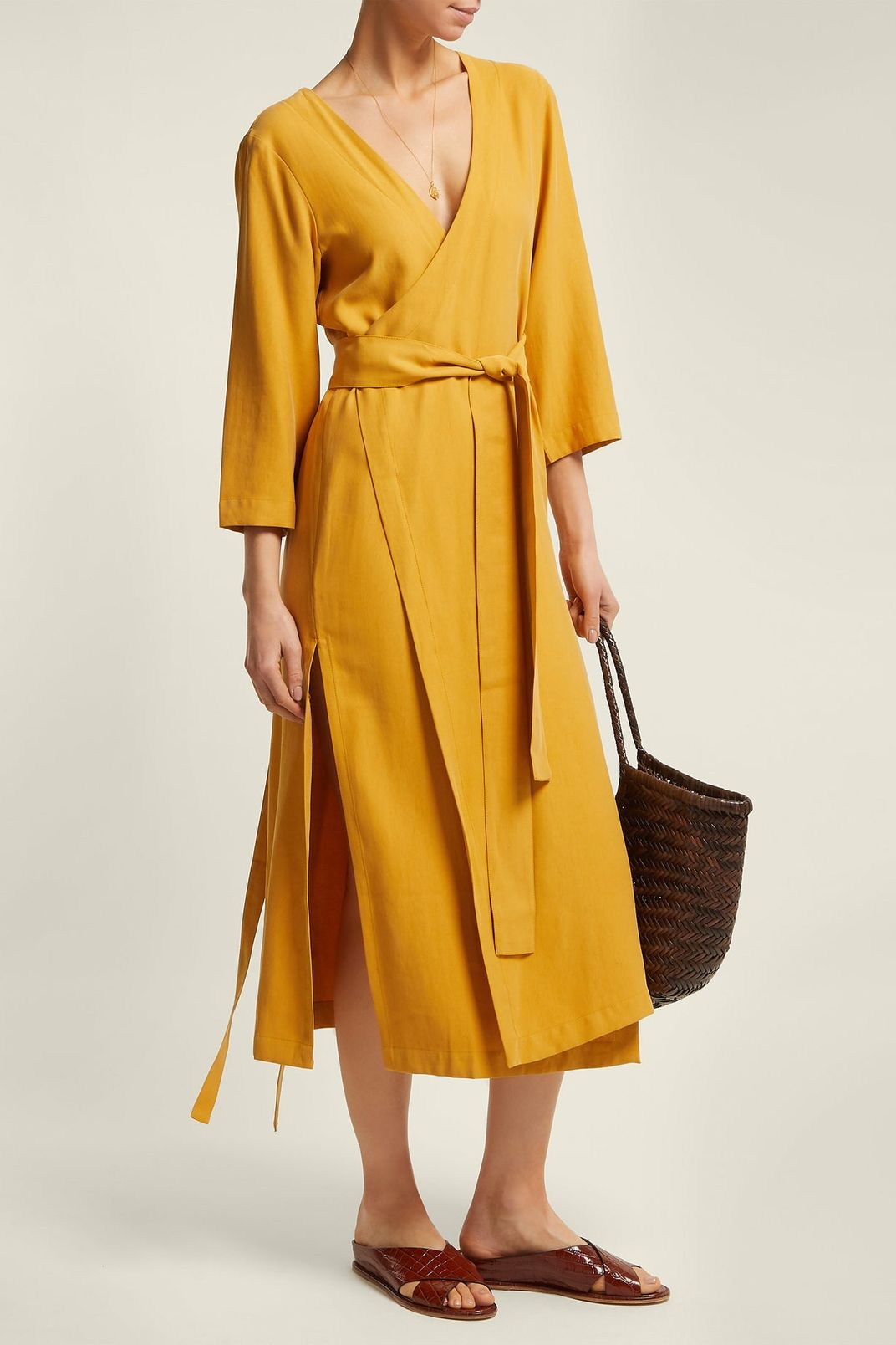 Haight Heart V-Neck Wrap Crepe Midi Dress