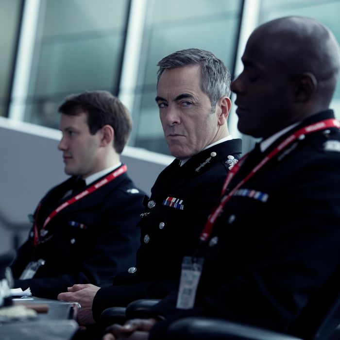 L to R, Jonny Sweet, James Nesbitt and Paterson Joseph - in the SundanceTV original series