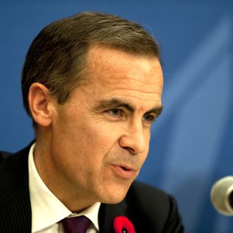 In this file picture taken on November 5, 2012 the Governor of the Bank of Canada, Mark Carney, speaks during a press conference in Mexico City in the framework of th G20 Finance Ministers' and Central Bank Governors' Meeting. Carney was appointed as Governor of the Bank of England on November 26, 2012.