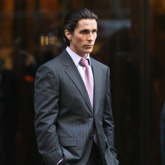 Christian Bale seen filming the latest Batman movie in New York city, USA. In the scene he is seen leaving the Trump building which has been renamed as Wayne Enterprizes for the movie. <P> Pictured: Christian Bale <P> <B>Ref: SPL329388 281011 </B><BR/> Picture by: PPNY / GSNY / Splash News<BR/> </P><P> <B>Splash News and Pictures</B><BR/> Los Angeles:310-821-2666<BR/> New York:212-619-2666<BR/> London:870-934-2666<BR/> photodesk@splashnews.com<BR/> </P>