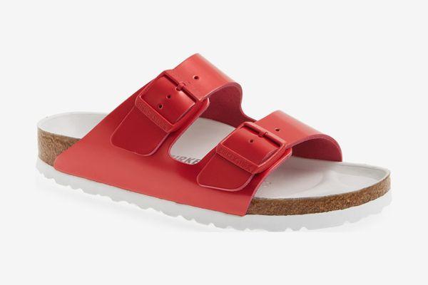 Birkenstock Arizona Hex Limited Edition Shock Drop Slide Sandal Red Spectacular Leather