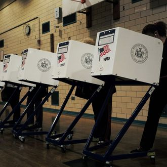 Residents cast their ballots at a polling station in New York on April 19, 2016.