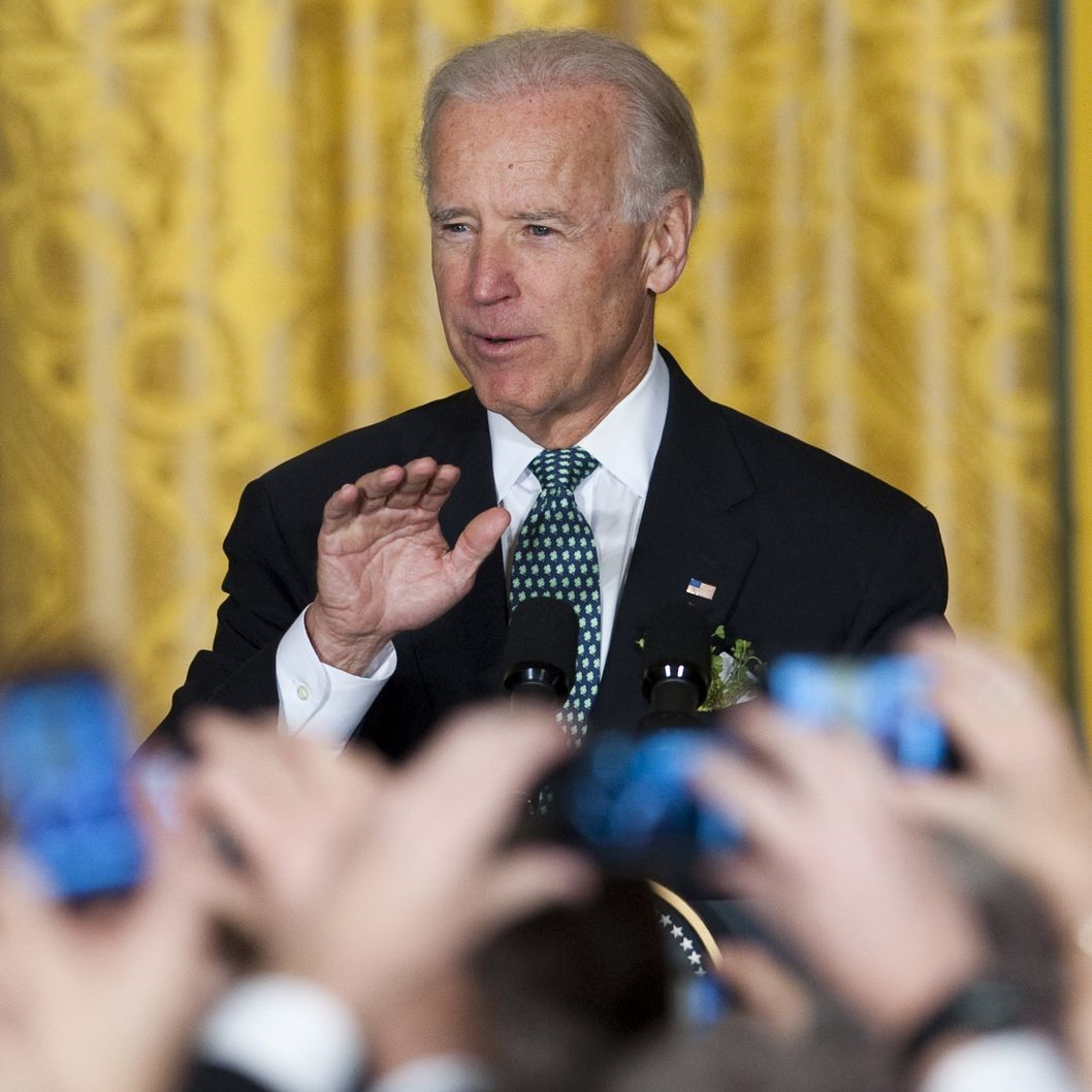 US Vice President Joe Biden speaks during a St. Patrick's Day Reception in the East Room of the White House in Washington, DC, March 20, 2012.