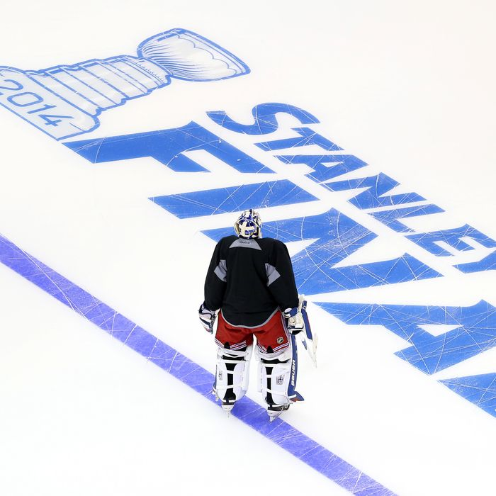 Henrik Lundqvist #30 of the New York Rangers skates during a practice session ahead of the 2014 NHL Stanley Cup Final at Staples Center on June 3, 2014 in Los Angeles, California.