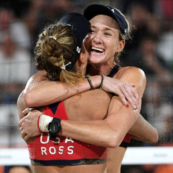 Walsh Jennings and Ross hug it out in Rio.