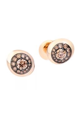 Pomellato Nuvola 18K Rose Gold & Brown Diamond Stud Earrings