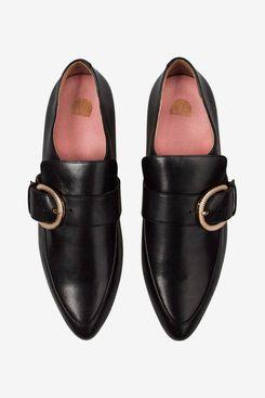 Bared Roller Black Leather Flats
