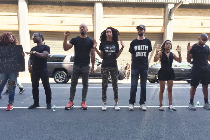 Black Lives Matter demonstrators at men's Fashion Week.