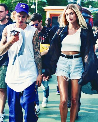 Justin Bieber and Hailey Baldwin at John Elliott.