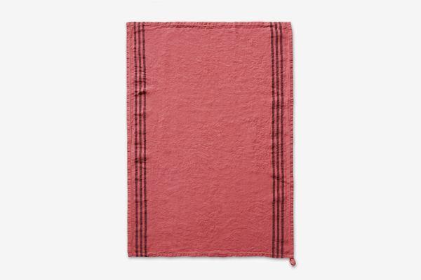 """Merci """"Poudre de Rose"""" Striped Pre-Washed Linen Tea-Towel"""