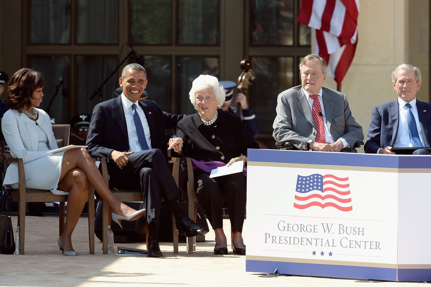 DALLAS, TX - APRIL 25:  (L-R) First lady Michelle Obama, U.S. President Barack Obama, former first lady Barbara Bush, former President George H.W. Bush and former President George W. Bush attend the opening ceremony of the George W. Bush Presidential Center April 25, 2013 in Dallas, Texas. The Bush library, which is located on the campus of Southern Methodist University, with more than 70 million pages of paper records, 43,000 artifacts, 200 million emails and four million digital photographs, will be opened to the public on May 1, 2013. The library is the 13th presidential library in the National Archives and Records Administration system.  (Photo by Kevork Djansezian/Getty Images)