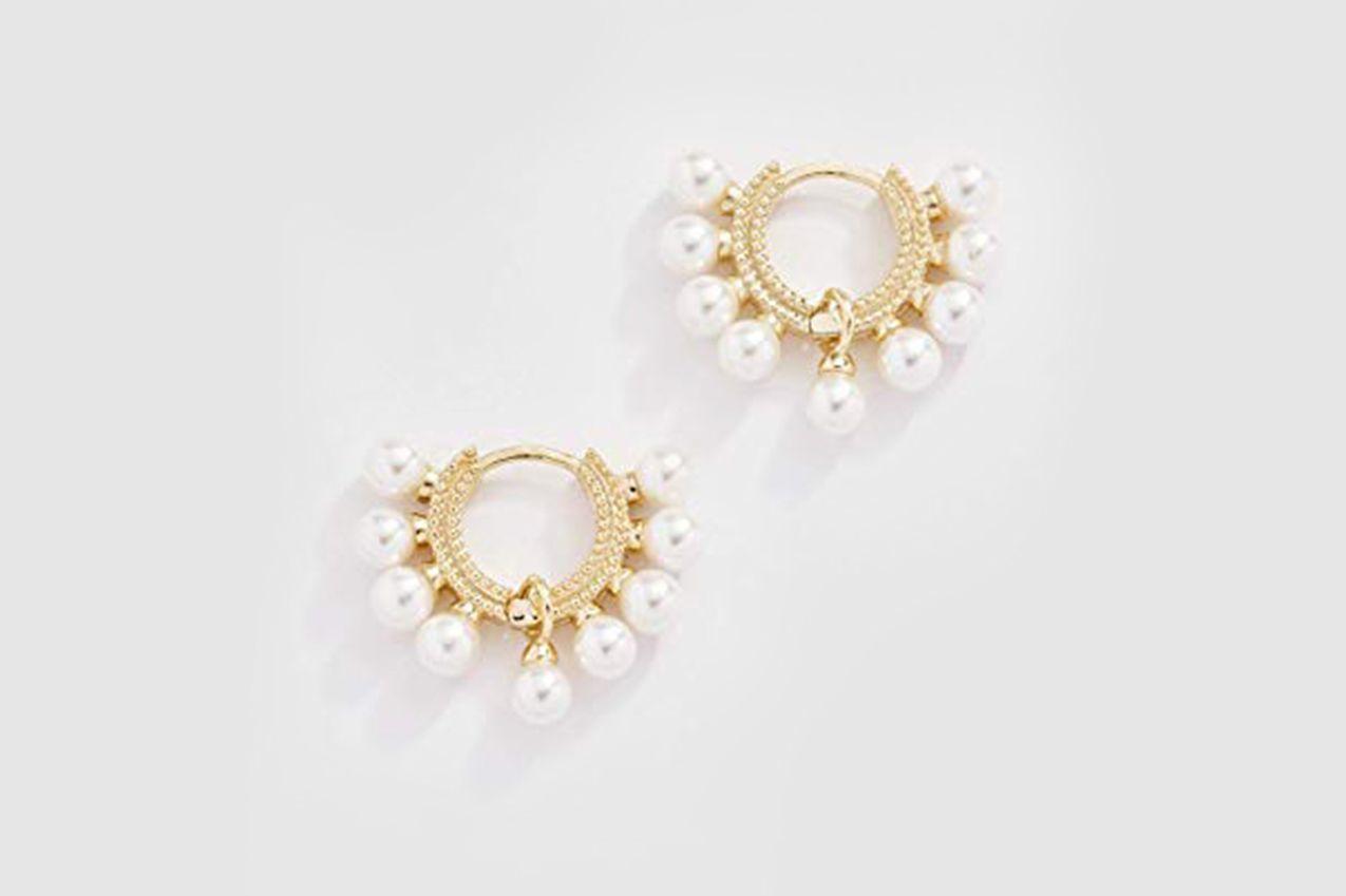 Shashi Women's Lola Pearl Huggie Earrings