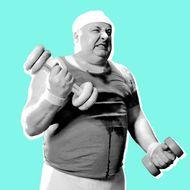 Large man lifting weights