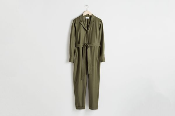 Belted Wool Blend Boilersuit