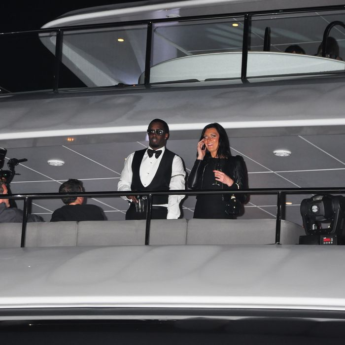 P Diddy invites celebrities and friends for a party on a yacht in Cannes. Paris Hilton, Nicky Hilton, Kim Kardashian, Michelle Rodriguez, Tara Reid, Benito Del Toro and more were seen aboard.Pictured: P Diddy.