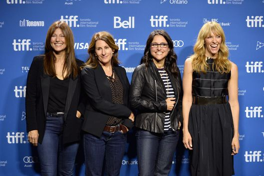 "TORONTO, ON - SEPTEMBER 08:  (L-R) Actress Catherine Keener, director Nicole Holofcener, actress Julia Louis-Dreyfus and actress Toni Collette attend ""Enough Said"" Press Conference during the 2013 Toronto International Film Festival at TIFF Bell Lightbox on September 8, 2013 in Toronto, Canada.  (Photo by Alberto E. Rodriguez/Getty Images)"
