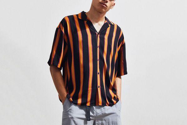 Loom Retro Stripe Short Sleeve Button-Down Shirt