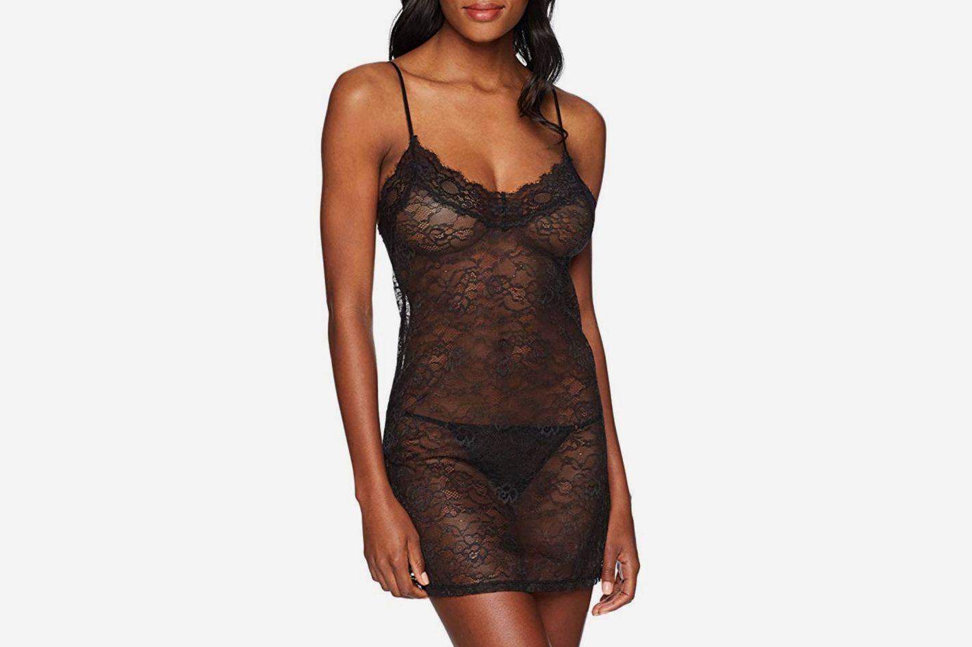 Mae Women's Lace Chemise and Thong Set