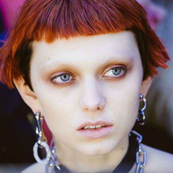 Model Katie Moore at Alexander Wang.