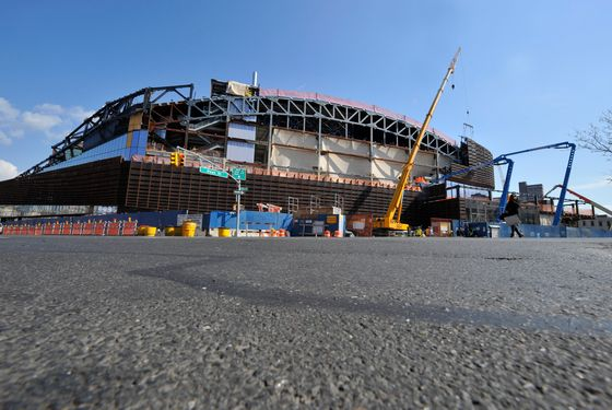 BROOKLYN, NY - APRIL 10: A general view of the construction progress of the Barclays Center on April 10, 2012 in Brooklyn, New York. NOTE TO USER: User expressly acknowledges and agrees that, by downloading and/or using this photograph, user is consenting to the terms and conditions of the Getty Images License Agreement.  Mandatory Copyright Notice: Copyright 2012 NBAE (Photo by David Dow/NBAE via Getty Images)