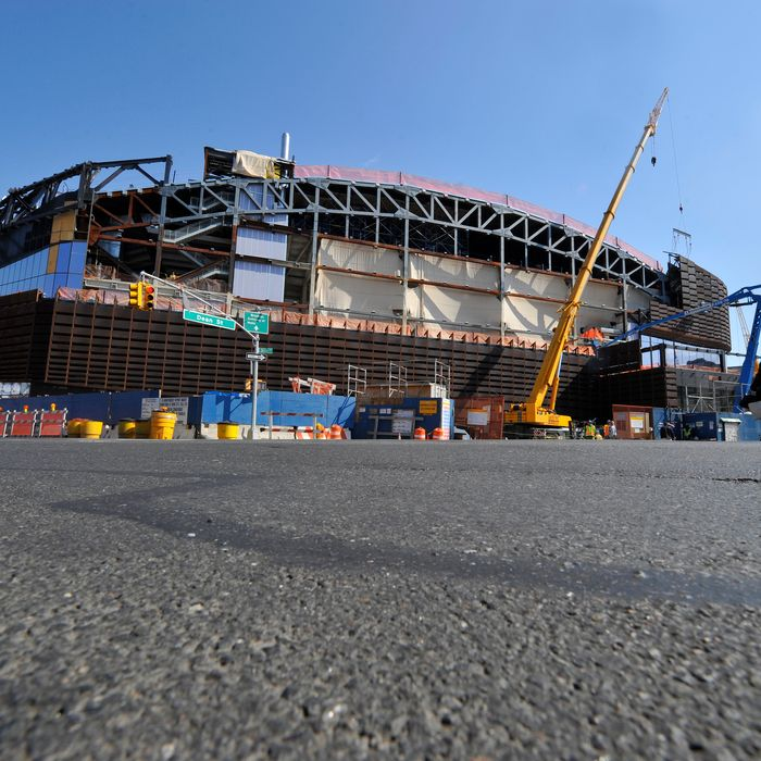 A general view of the construction progress of the Barclays Center on April 10, 2012 in Brooklyn, New York.