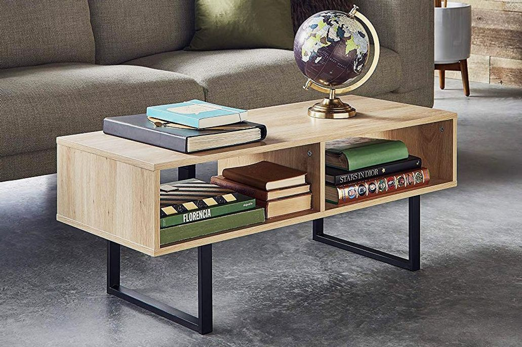 ClosetMaid 1311 Rectangular Wood Coffee Table With Storage Shelves, Natural