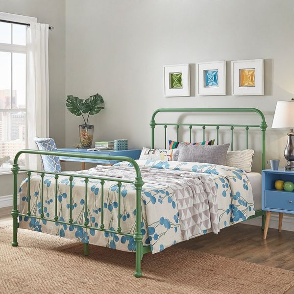 Weston Home Nottingham Metal Bed, Queen, Meadow Green
