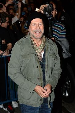 Bruce Willis departs after his performance in 'Misery' at the Broadhurst Theatre in Times Square, NYC
