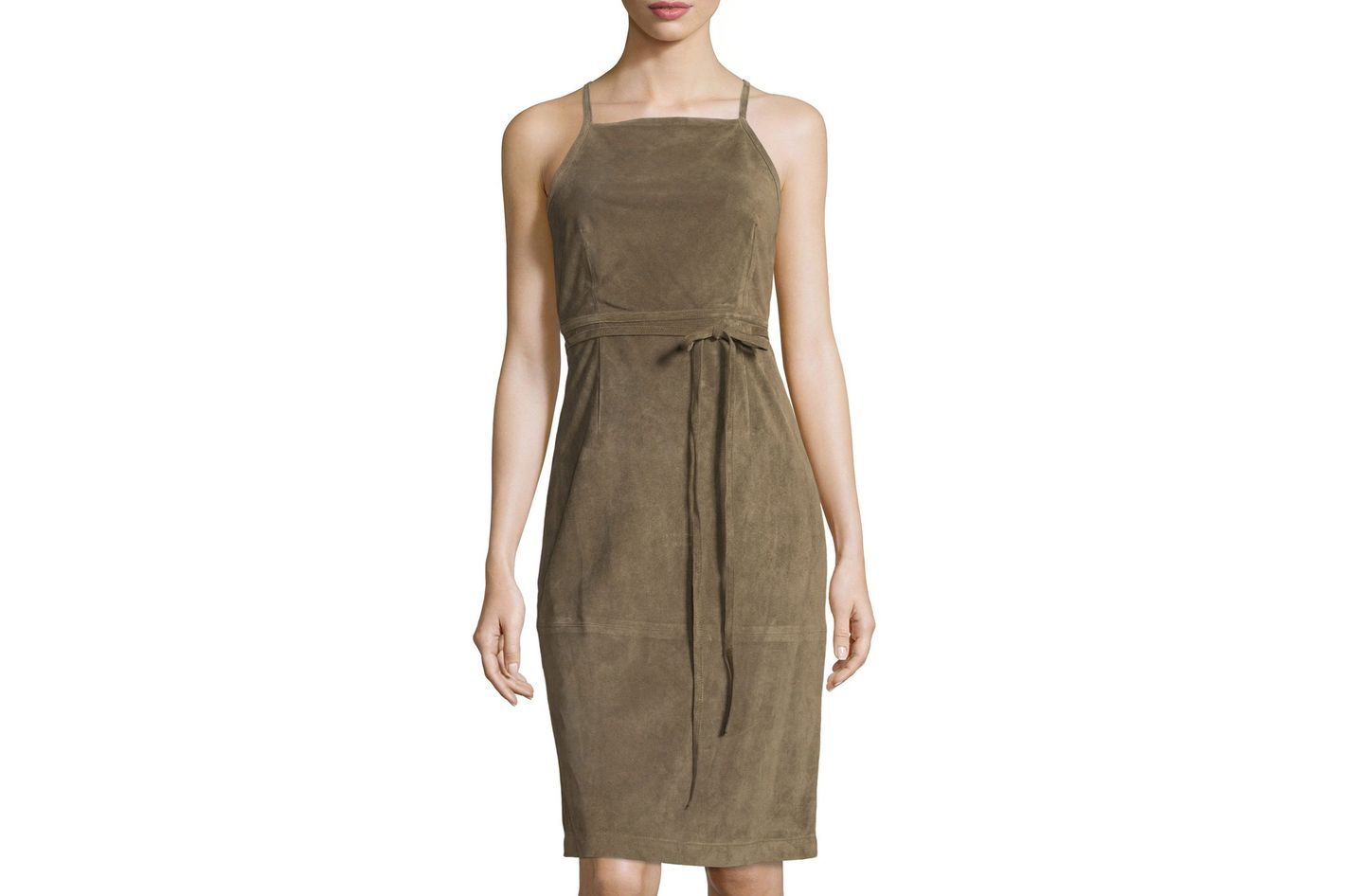 Theory Lilita Suede Cross-Back Dress