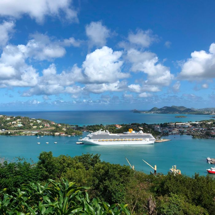 A cruise ship in St. Lucia.