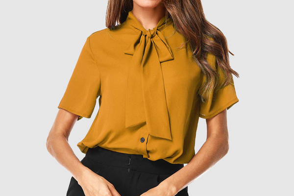 UUANG Bow Tie Neck Short Sleeve Chiffon