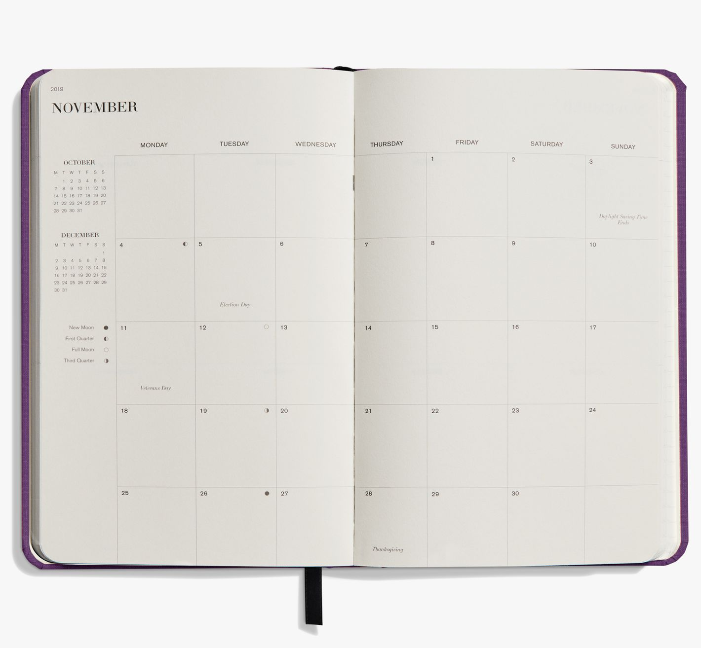 Shinola Planner: 2019, 12 Month, Hard Linen, Dark Purple