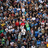 A crowd gathers to watch as Democratic presidential candidate Bernie Sanders speaks during a rally in Oakland, California on May 30, 2016.