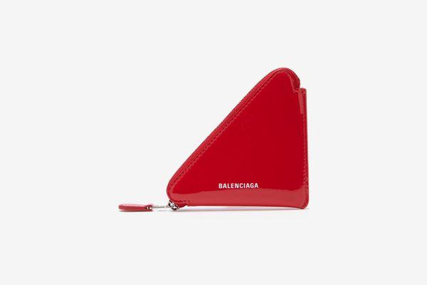 Balenciaga Triangle Patent-Leather Coin Purse