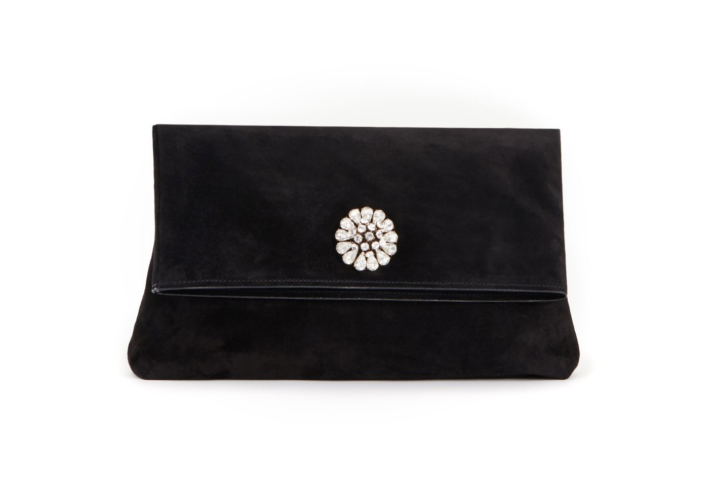 Jeweled Suede Clutch