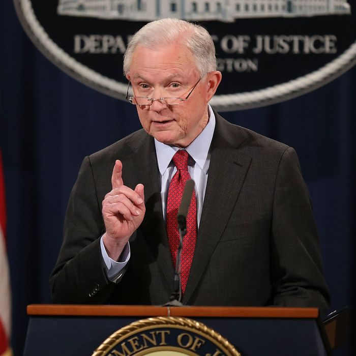U.S. Attorney General Jeff Sessions holds a news conference at the Department of Justice on December 15, 2017 in Washington, DC.