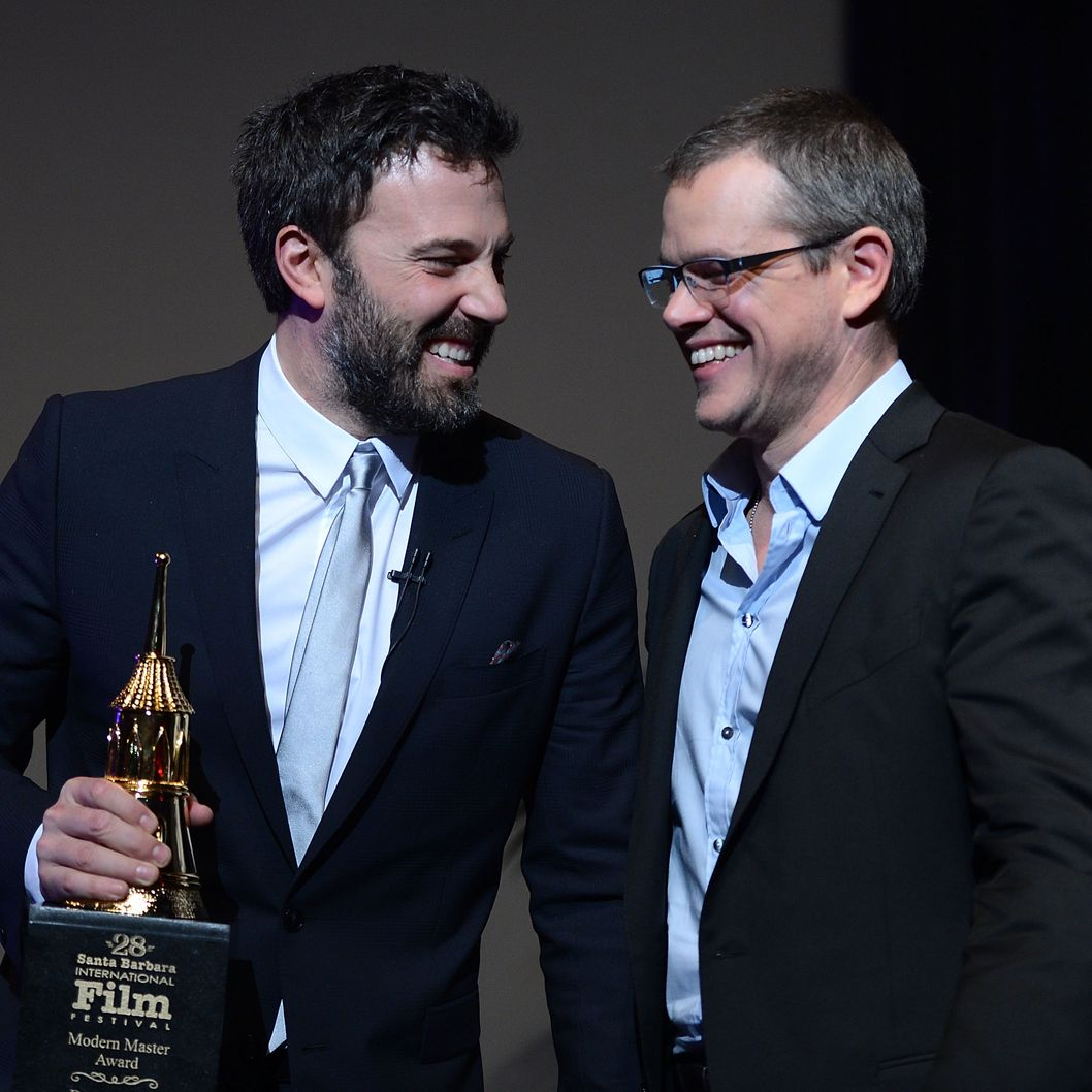 SANTA BARBARA, CA - JANUARY 25:  Matt Damon (R) presents Ben Affleck with the Modern Master Award outside The Moet & Chandon Lounge at The Santa Barbara International Film Festival on January 25, 2013 in Santa Barbara, California.  (Photo by Michael Kovac/WireImage)