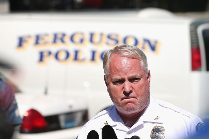 FERGUSON, MO - AUGUST 13:  Police Chief Thomas Jackson fields questions related to the shooting death of teenager Michael Brown during a press conference on August 13, 2014 in Ferguson, Missouri. Brown was shot and killed by a Ferguson police officer on Saturday. Ferguson has experienced three days of violent protests since the killing.  (Photo by Scott Olson/Getty Images)