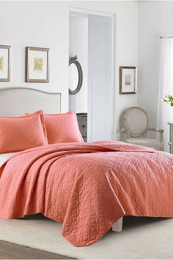 Laura Ashley Solid Coral Quilt Set (Full/Queen)