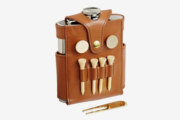 "Visol ""GB"" Stainless Steel Flask With Brown Leather Wrap and Golf Tools, 6-Ounce"