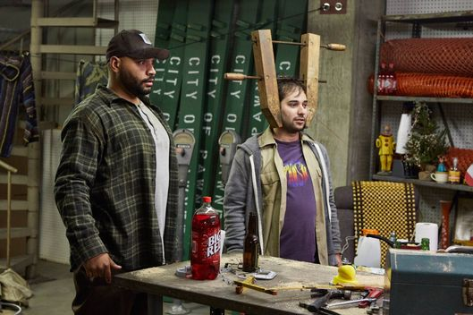 "PARKS AND RECREATION -- ""Pie-mary"" Episode 708 -- Pictured: (l-r) Colton Dunn as Brett, Harris Wittels as Harris -- (Photo by: Ben Cohen/NBC/NBCU Photo Bank via Getty Images)"