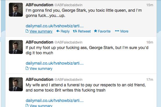 A set of Alec Baldwin tweets using anti-gay slurs