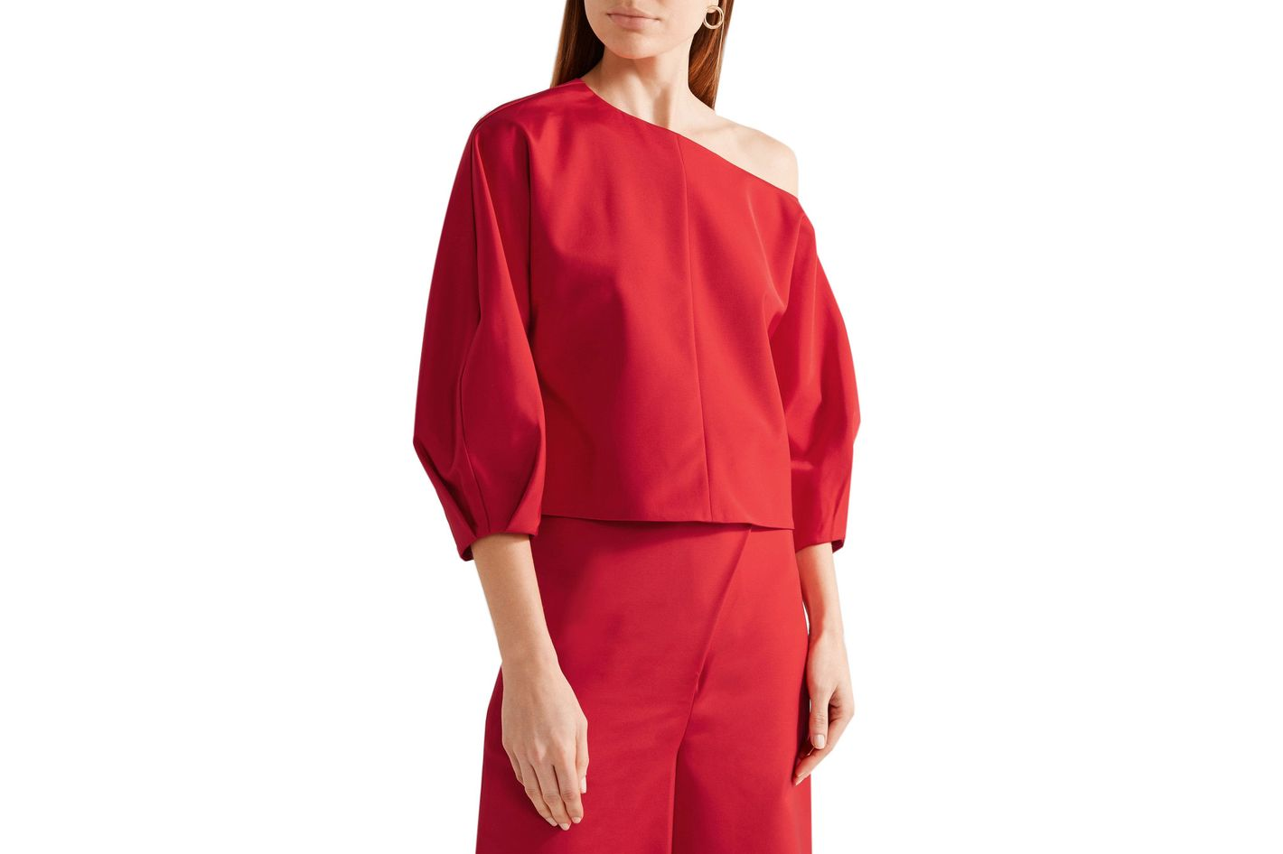 Tibi one-shoulder stretch-faille top