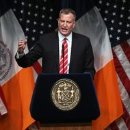NEW YORK, NY - FEBRUARY 10:  New York City Mayor Bill de Blasio gives the State of the City address at La Guardia Community College on February 10, 2014 in the Long Island City section of the Queens borough of New York City. In his first address as Mayor of New York, de Blasio plans to outline his vision for fighting the widening income inequality gap and intends to urge lawmakers to raise the minimum wage.  (Photo by John Moore/Getty Images)