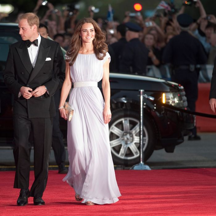 Kate and William arriving at a BAFTA event in L.A. Kate's dress is Alexander McQueen.